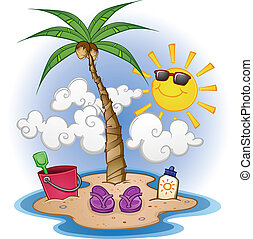 plage, dessin animé, scène