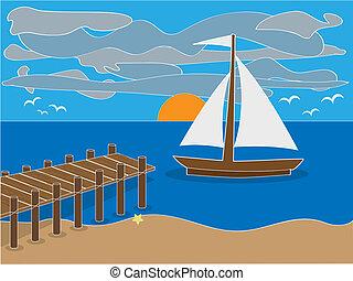 plage, dock, levers de soleil