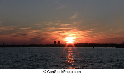plage, doré, bord mer, coucher soleil