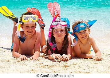 plage, enfants, heureux
