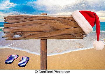 plage, enseigne, fond, texte, fête, noël