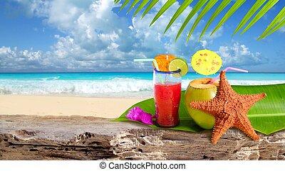 plage, etoile mer, cocktail, exotique, noix coco