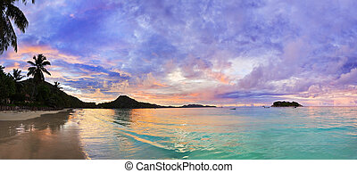 plage, exotique, cote, seychelles, coucher soleil, or
