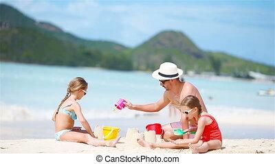 plage., famille, exotique, sable, confection, château, blanc