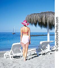 plage, femme, canari, espagne, tenerife, îles