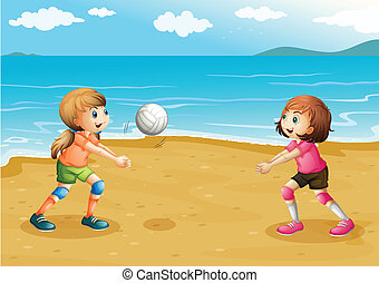 plage, filles, jouer volleyball