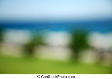 plage, fond, brouillé