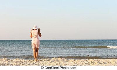 plage, girl, chapeau