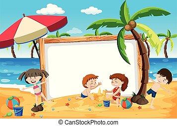 plage, gosses été, bannière