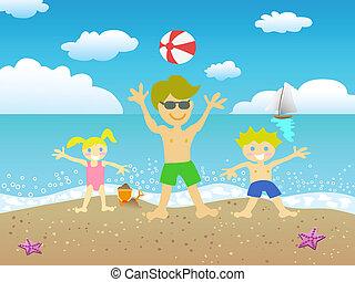 plage, gosses, père, jouer