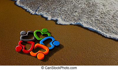 plage., groupe, gens, illustration, rendre, agréable, 3d