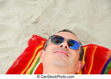 plage, homme, lunettes soleil, relâcher
