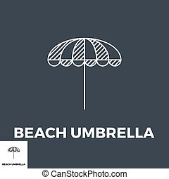 plage, icône, parapluie
