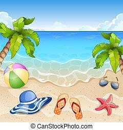 plage, illustration, été