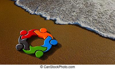 plage., illustration, enfants, rendre, jouer, 3d