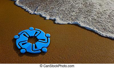 plage., illustration, rendre, collaboration, réunion, 3d