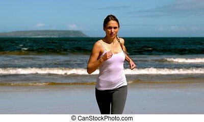 plage, jogging, crise, blond