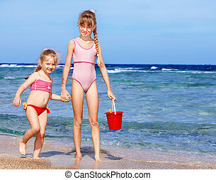 plage., jouer, enfants