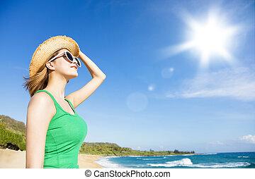 plage, lumière soleil, fond, femme relâche, jeune