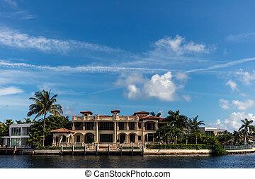 plage, luxe, ensoleillé, villas, îles