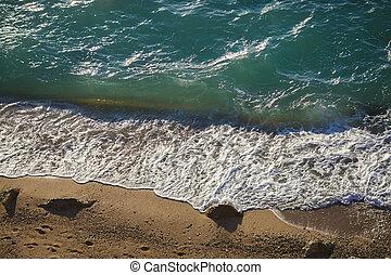 plage, mousse, mer, vagues, doux, sablonneux