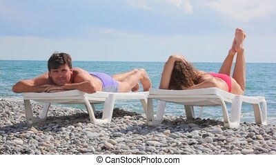 plage, nuages, fond, couple, lits, mer, plage caillou, mensonge