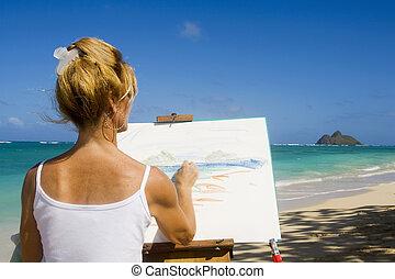 plage, peinture, hawaï, artiste