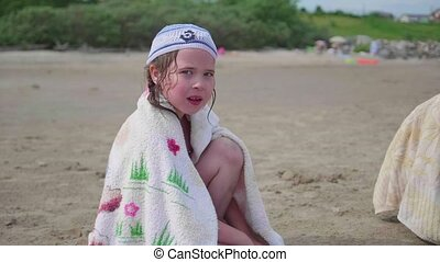 plage, peu, été, séance, day., chaud, girl