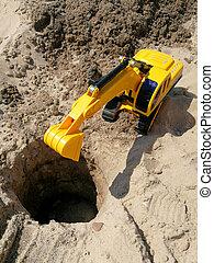 plage, plastique, trous, creuser, jouet, enfant, excavateur