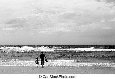 plage, printemps, fils, temps père