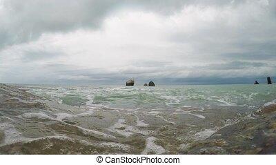 plage, rocheux, vagues
