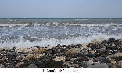 plage, rouler, vagues, caillou, mer