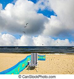 plage sable, chaise, océan