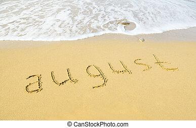 plage sable, texture, -, août, écrit