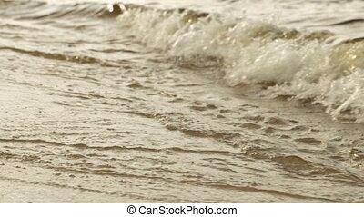 plage, sablonneux, vagues