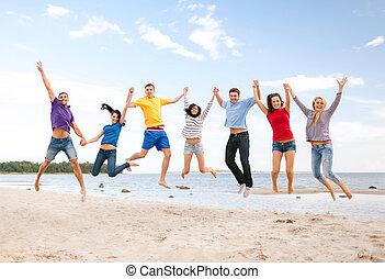 plage, sauter, groupe, amis