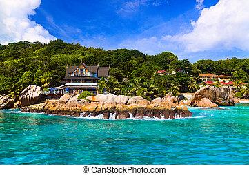 plage, seychelles, la, hôtel, digue, exotique