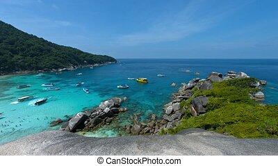 plage, similan, touriste, coup, koh, thailand., négligence