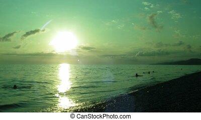 plage, soir, vert, tonalités