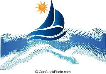 plage, soleil, bateau, vagues océan, cadre