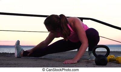 plage, sportive, coucher soleil, élaboration