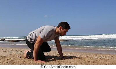 plage, statique, planche, exercice, homme