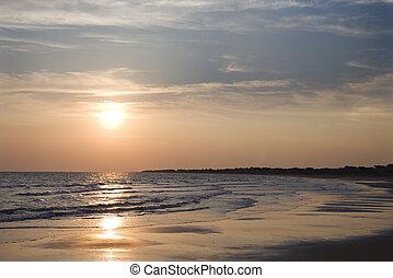 plage, sunset.