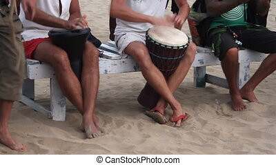 plage, tambour, jouer, homme