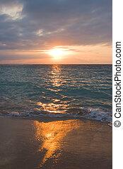 plage tropicale, calme, levers de soleil, océan