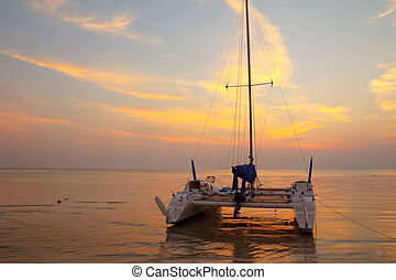 plage tropicale, catamaran, coucher soleil