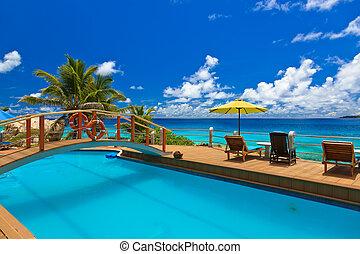 plage tropicale, seychelles, -, piscine