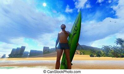 plage tropicale, surfeur