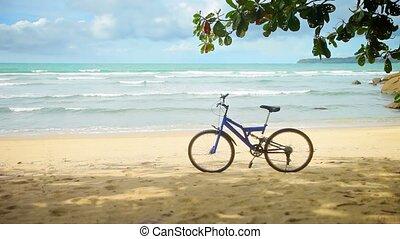 plage tropicale, vélo, garé