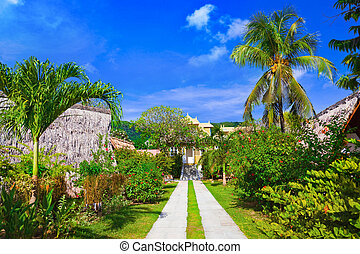 plage tropicale, villa